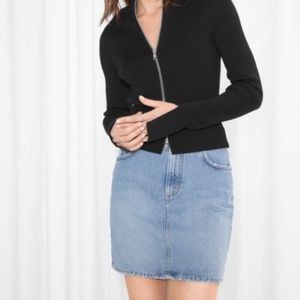 & Other Stories Medium Wash Denim Mini Skirt